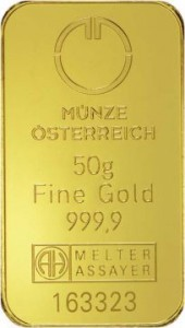 MUNZE50 Austrian Mint Gold Bar - pr.999,9 - 50 g