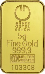 MUNZE5 Austrian Mint Gold Bar - pr.999,9 - 5 g